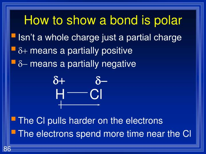 How to show a bond is polar