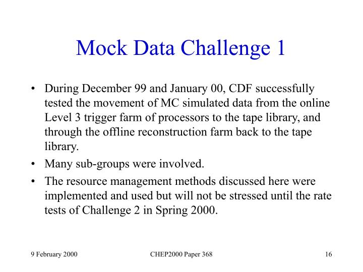 Mock Data Challenge 1