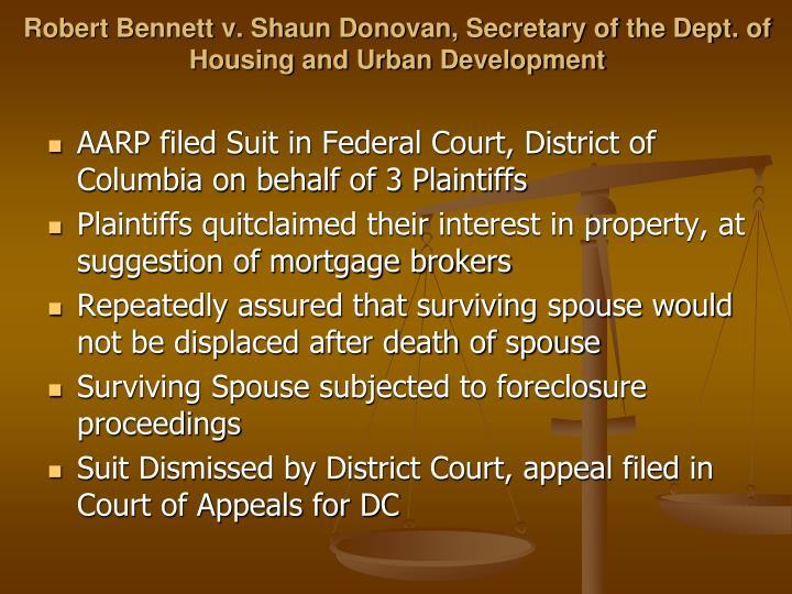 Robert Bennett v. Shaun Donovan, Secretary of the Dept. of Housing and Urban Development