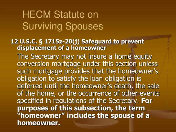 HECM Statute on Surviving Spouses