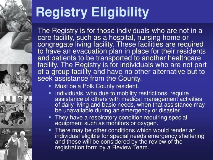 Registry Eligibility