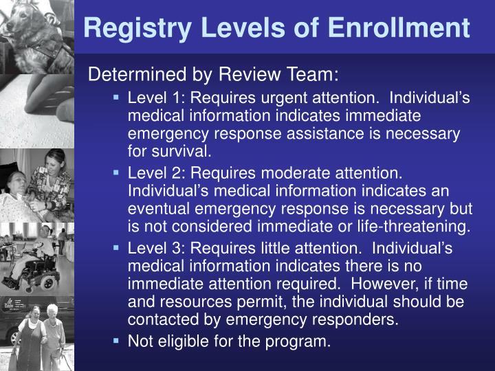 Registry Levels of Enrollment