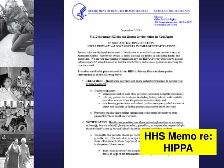 HHS Memo re: HIPPA