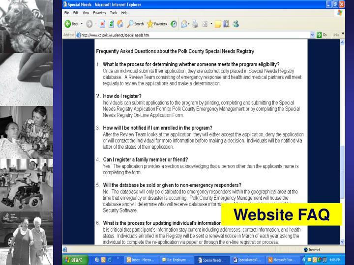 Website FAQ
