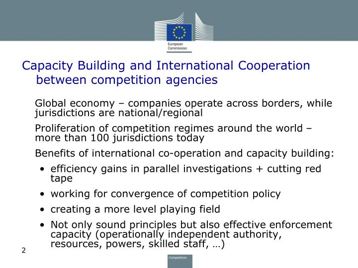 Capacity building and international cooperation between competition agencies