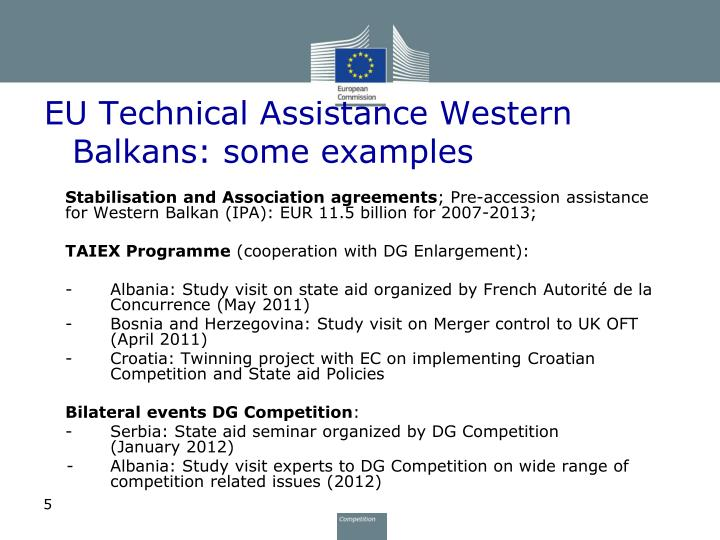 EU Technical Assistance Western Balkans: some examples