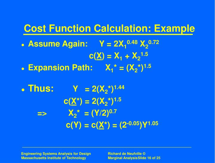 Cost Function Calculation: Example