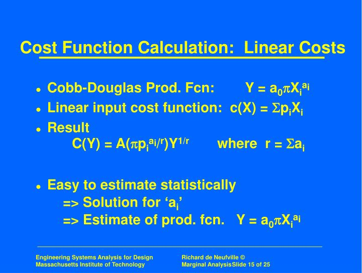 Cost Function Calculation:  Linear Costs