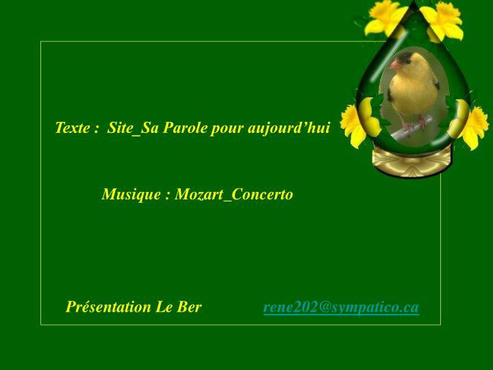 Texte :  Site_Sa Parole pour aujourd'hui