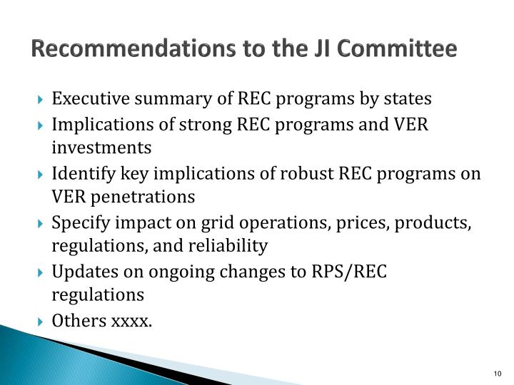 Recommendations to the JI Committee