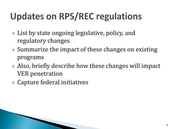 Updates on RPS/REC regulations