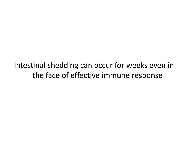 Intestinal shedding can occur for weeks