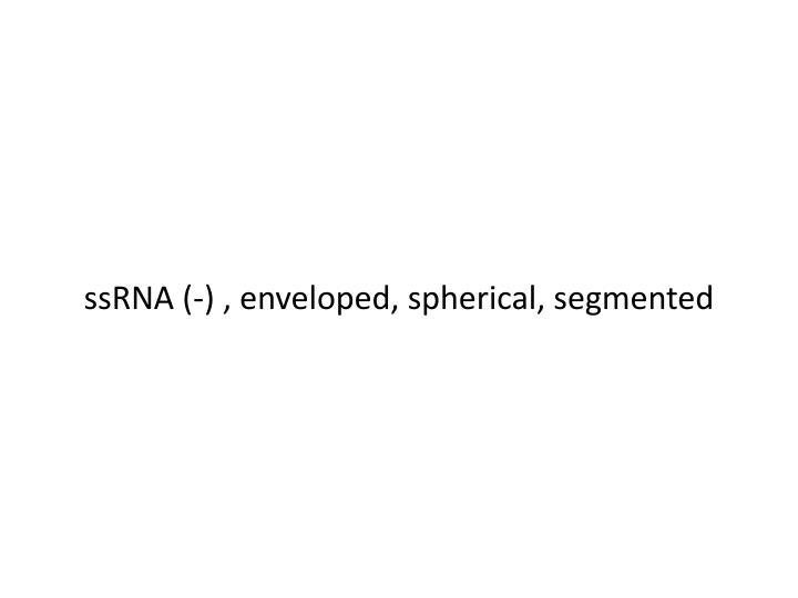ssRNA (-) , enveloped, spherical, segmented