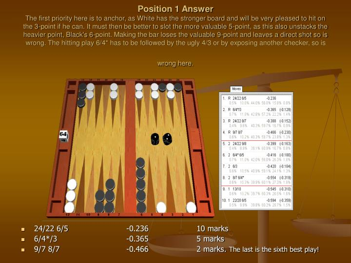 Position 1 Answer