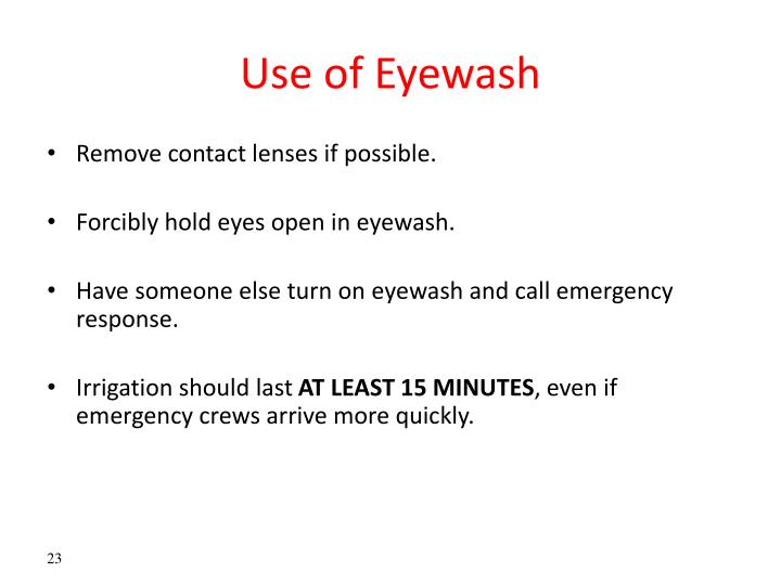 Use of Eyewash