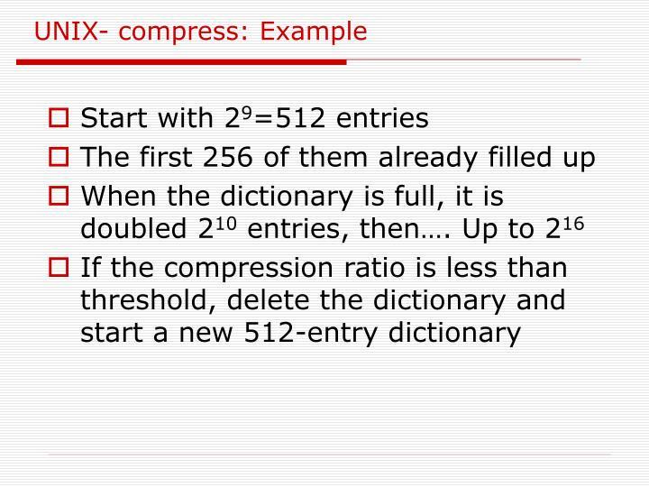 UNIX- compress: Example