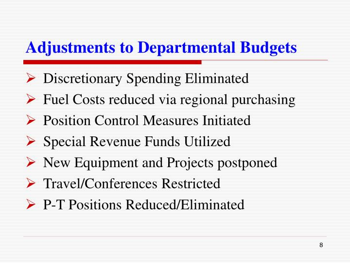 Adjustments to Departmental Budgets