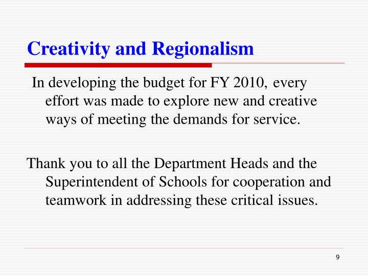 Creativity and Regionalism
