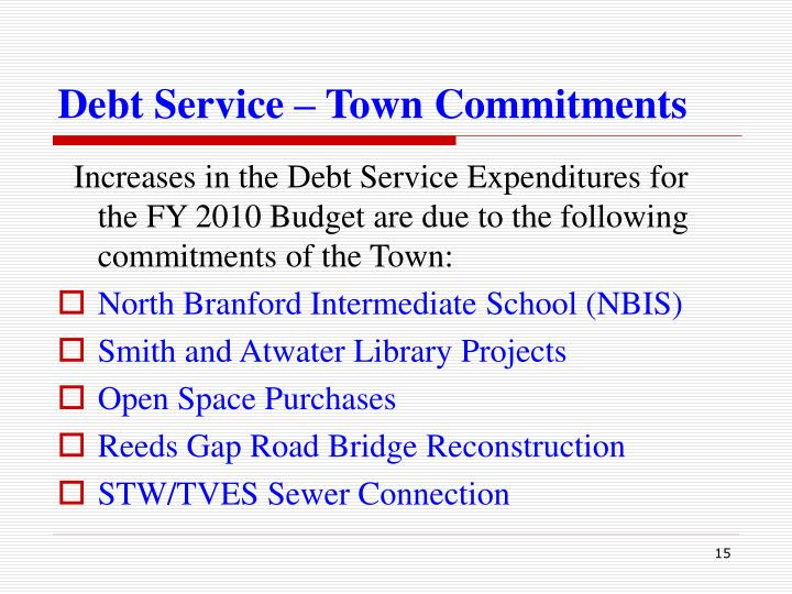 Debt Service – Town Commitments