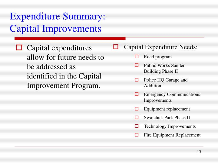 Capital expenditures allow for future needs to be addressed as identified in the Capital Improvement Program.