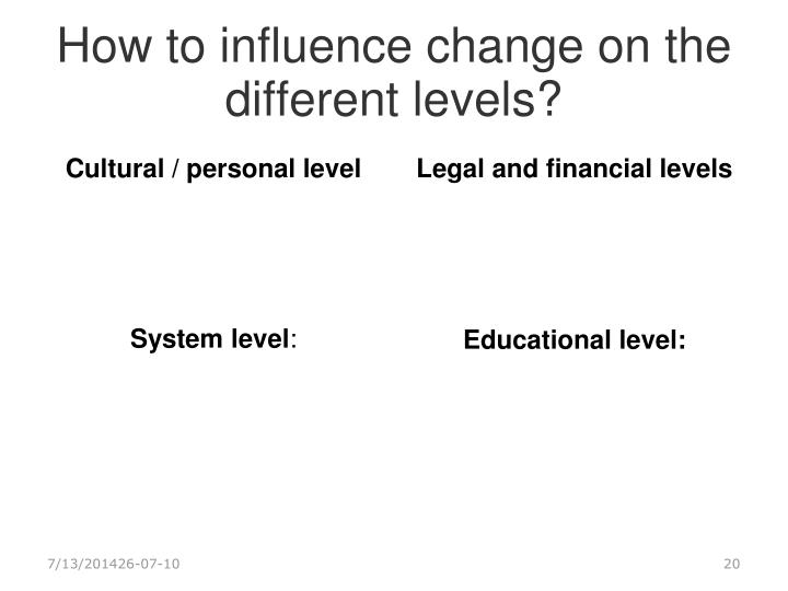 How to influence change on the different levels?
