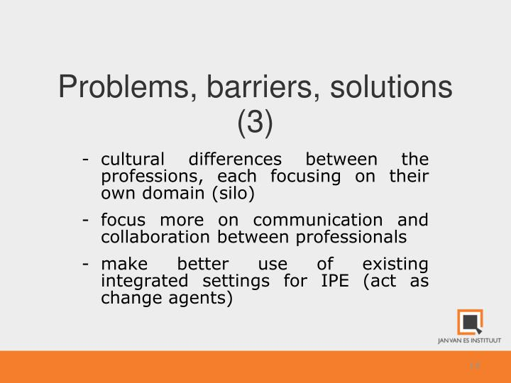 Problems, barriers, solutions (3)