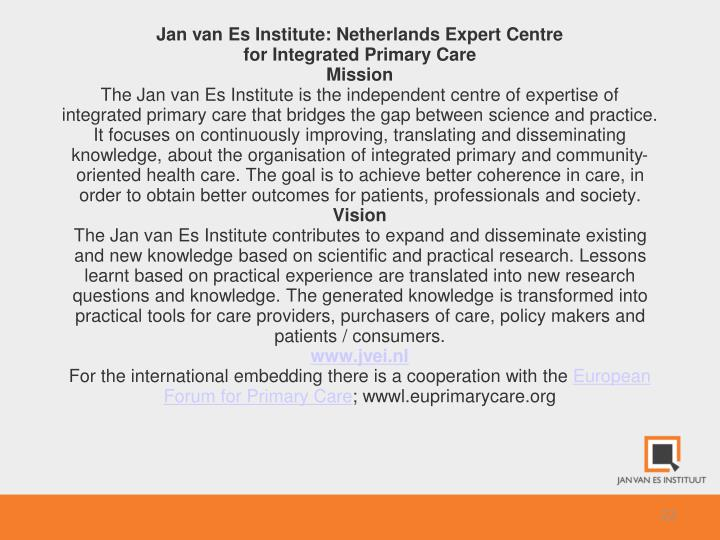 Jan van Es Institute: Netherlands Expert Centre