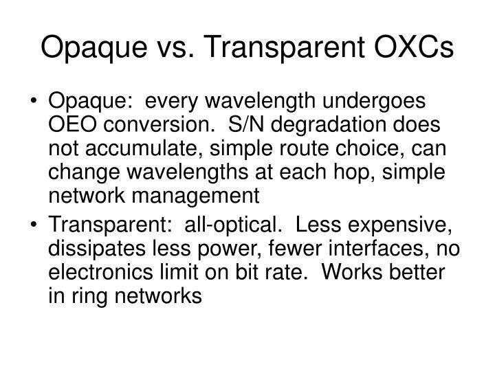 Opaque vs. Transparent OXCs