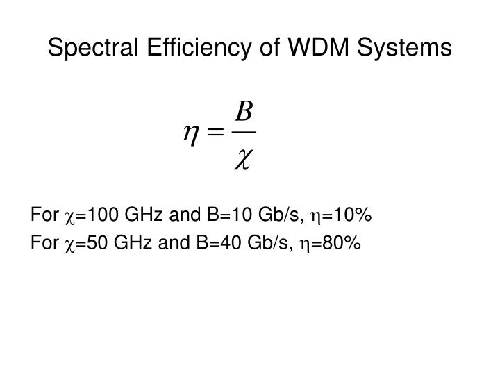 Spectral Efficiency of WDM Systems