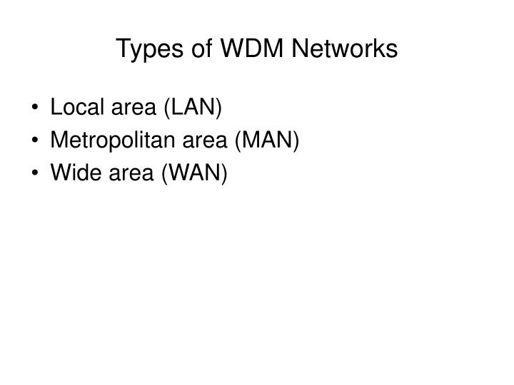 Types of WDM Networks