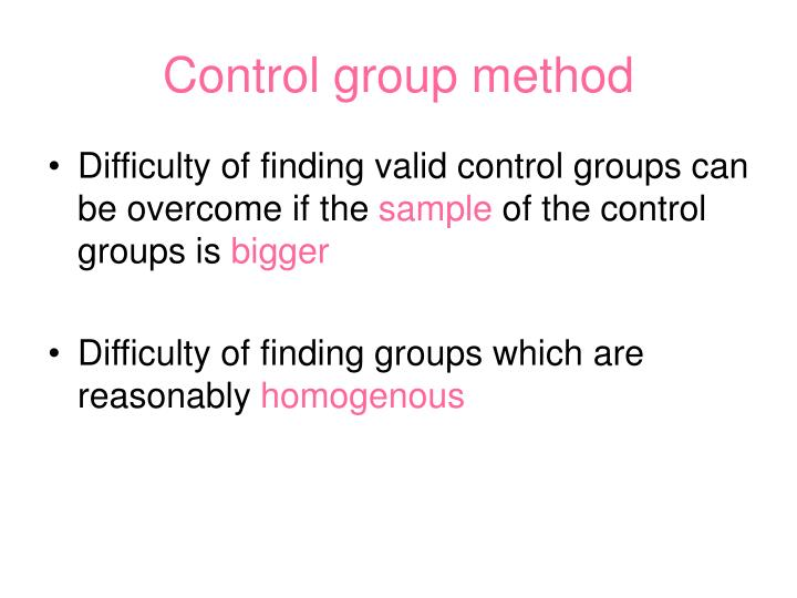 Control group method