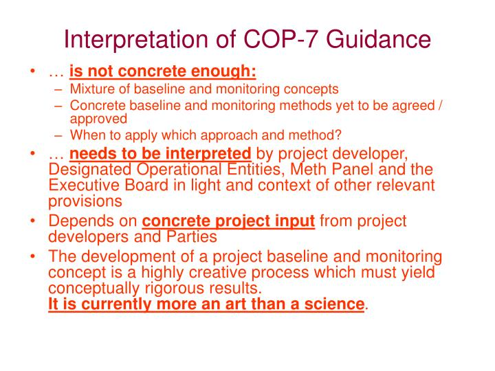 Interpretation of COP-7 Guidance