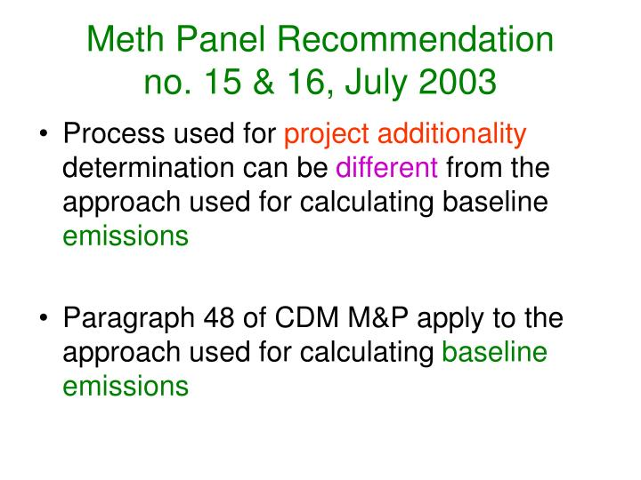 Meth Panel Recommendation