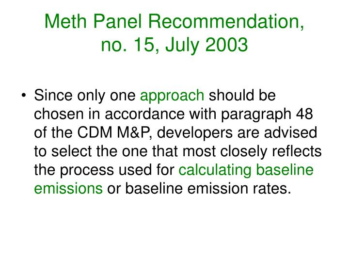 Meth Panel Recommendation,
