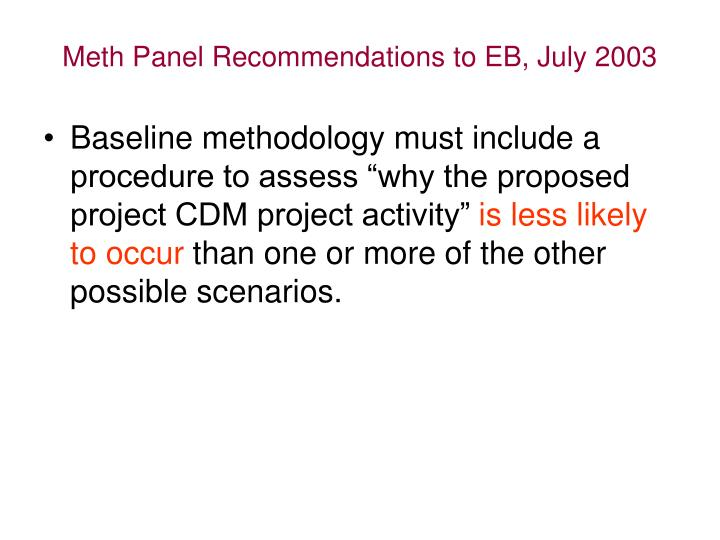 Meth Panel Recommendations to EB, July 2003