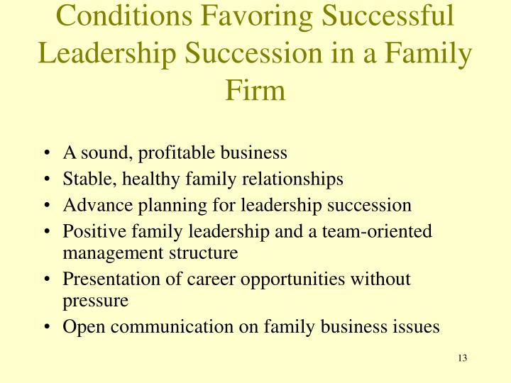 Conditions Favoring Successful