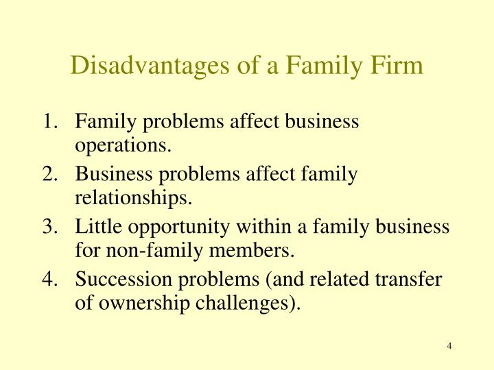 Disadvantages of a Family Firm