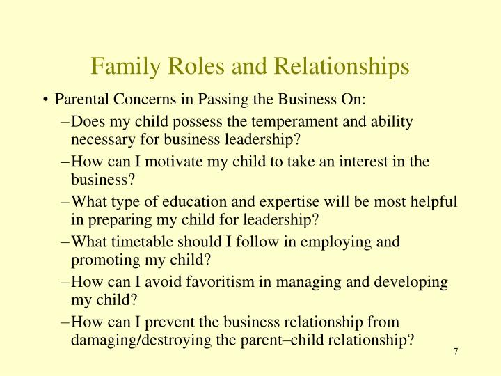 Family Roles and Relationships