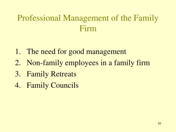 Professional Management of the Family Firm
