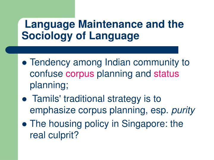 Language Maintenance and the Sociology of Language