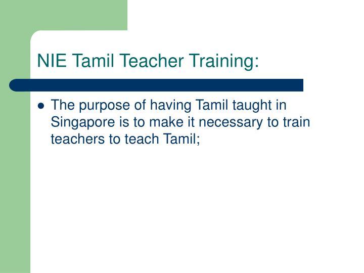 NIE Tamil Teacher Training: