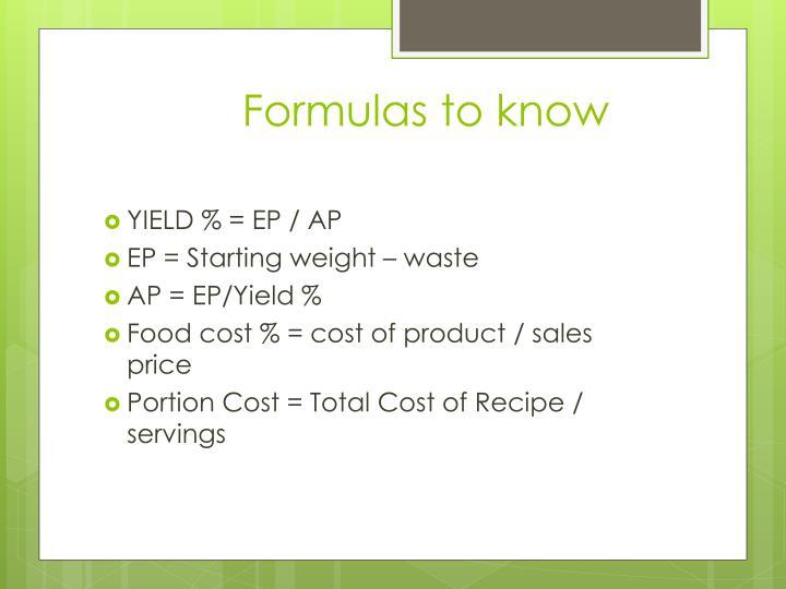 Formulas to know