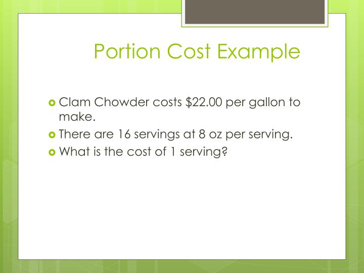 Portion Cost Example