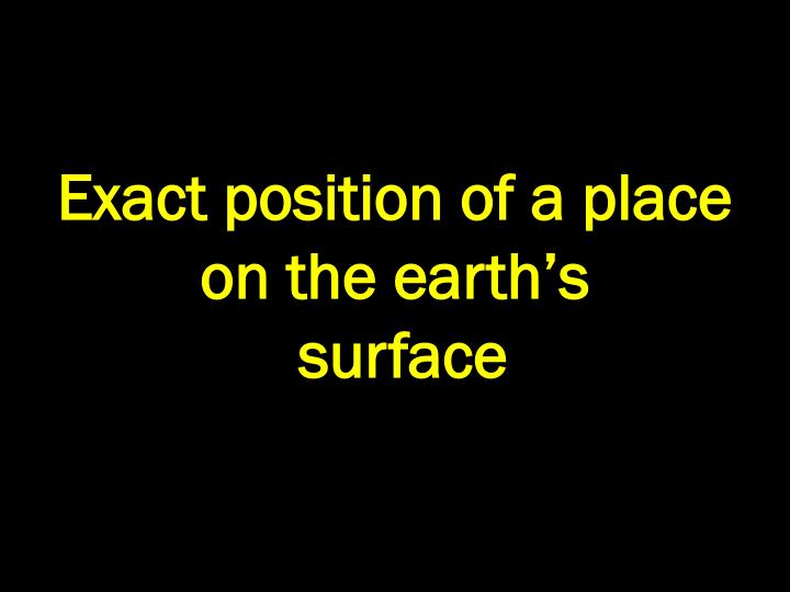 Exact position of a place