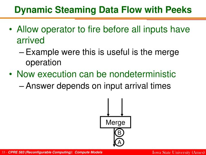 Dynamic Steaming Data Flow with Peeks