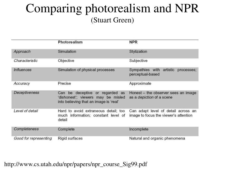 Comparing photorealism and NPR
