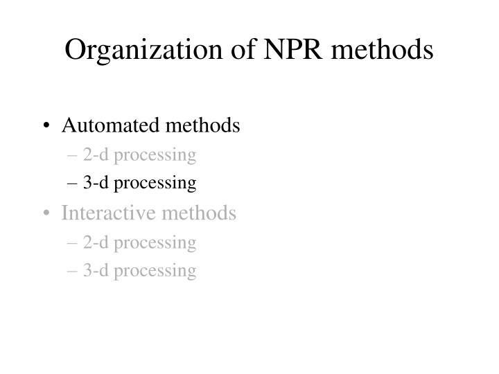 Organization of NPR methods