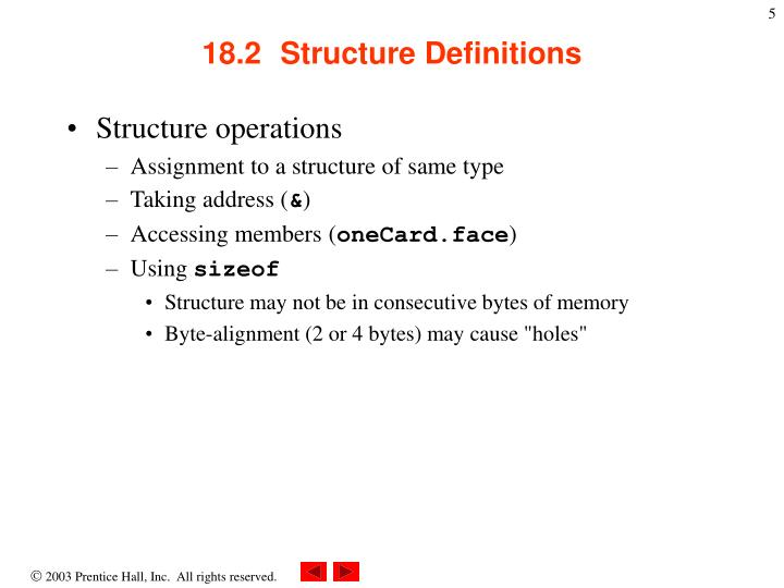 18.2  Structure Definitions