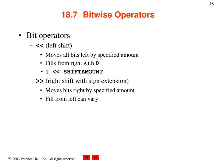 18.7  Bitwise Operators