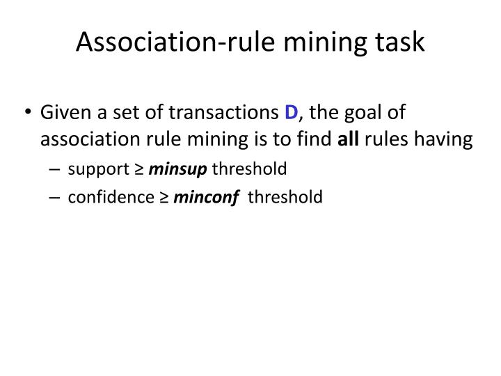 Association-rule mining task